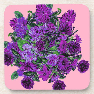 Girly Soft Pink with Pretty Purple Flowers Drink Coaster