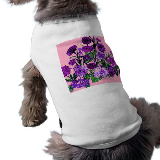 Girly Soft Pink with Pretty Purple Flowers Pet Tee Shirt