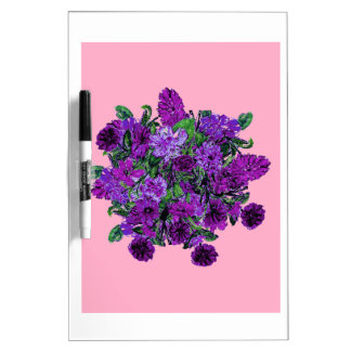 Girly Soft Pink with Pretty Purple Flowers Dry Erase Whiteboards