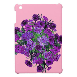 Girly Soft Pink with Pretty Purple Flowers Case For The iPad Mini