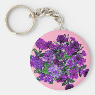 Girly Soft Pink with Pretty Purple Flowers Key Chains
