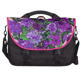 Girly Soft Pink with Pretty Purple Flowers Laptop Computer Bag
