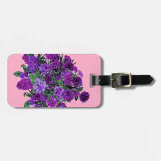 Girly Soft Pink with Pretty Purple Flowers Bag Tag
