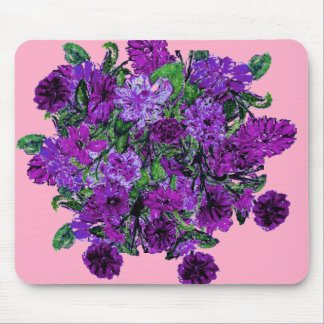 Girly Soft Pink with Pretty Purple Flowers Mouse Pads