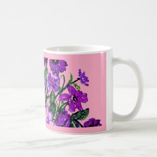 Girly Soft Pink with Pretty Purple Flowers Coffee Mug