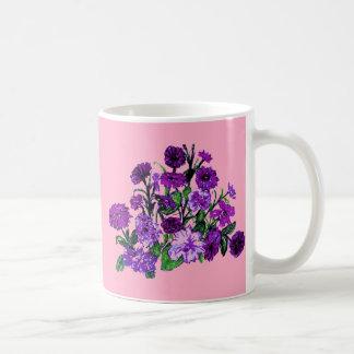 Girly Soft Pink with Pretty Purple Flowers Mugs