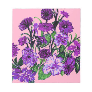 Girly Soft Pink with Pretty Purple Flowers Note Pads