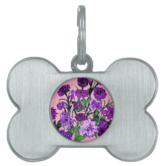 Girly Soft Pink with Pretty Purple Flowers Pet Tags