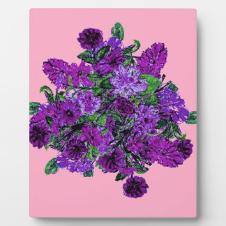 Girly Soft Pink with Pretty Purple Flowers Photo Plaques