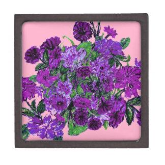 Girly Soft Pink with Pretty Purple Flowers Premium Trinket Box