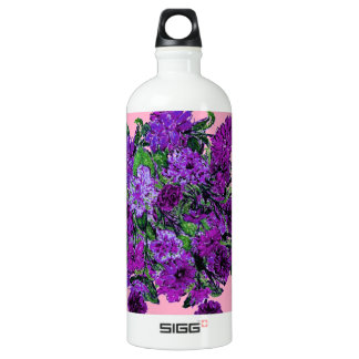 Girly Soft Pink with Pretty Purple Flowers SIGG Traveler 1.0L Water Bottle