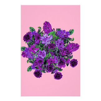 Girly Soft Pink with Pretty Purple Flowers Customized Stationery
