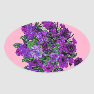 Girly Soft Pink with Pretty Purple Flowers Oval Stickers