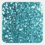 Girly Solid Aqua Glitter Look Square Sticker