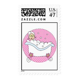 Girly Spa Chick Relaxing in Tub Postage