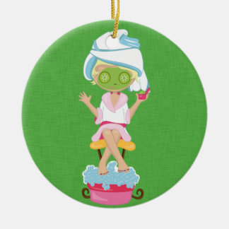 Girly Spa Girl Double-Sided Ceramic Round Christmas Ornament