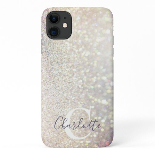 Girly Sparkly Glitter Silver Monogram Name iPhone 11 Case