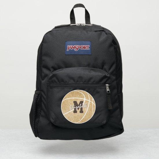 girly sports gold monogrammed basketball JanSport backpack