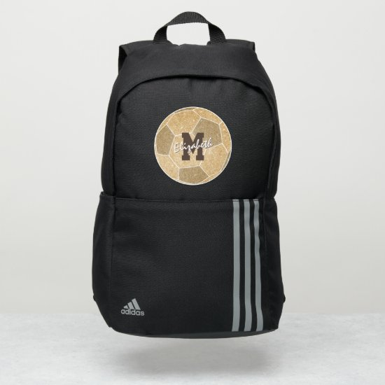 girly sports gold monogrammed soccer adidas backpack