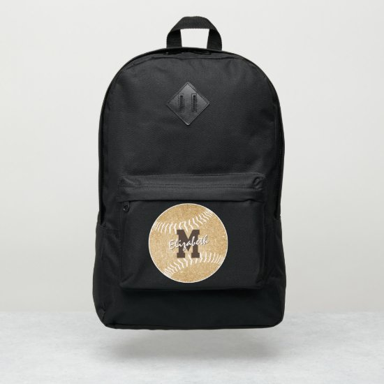 girly sports gold monogrammed softball port authority® backpack