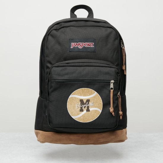 girly sports gold monogrammed tennis JanSport backpack