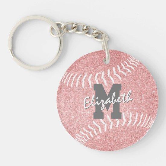 girly sports pink monogrammed softball bag tag keychain