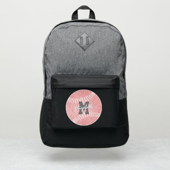 girly sports pink monogrammed softball port authority® backpack