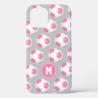 Girly sports pink white soccer balls pattern Case-Mate iPhone case