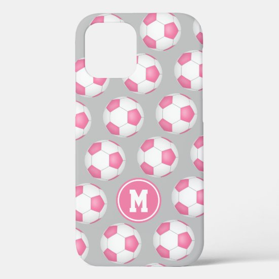 Girly sports pink white soccer balls pattern iPhone 12 case