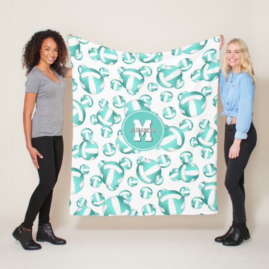 girly sports turquoise white volleyballs pattern fleece blanket