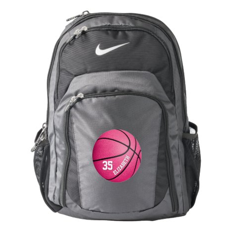 girly sporty hot pink basketball personalized backpack