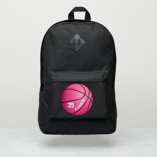 girly sporty hot pink basketball personalized port authority® backpack