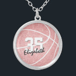 """girly sporty pink personalized basketball silver plated necklace<br><div class=""""desc"""">This cute girly basketball necklace features a pink,  digitally textured basketball graphic with overlying black and white text - easily customize this necklace with the player's name in a signature style font atop the player's jersey number in a varsity letter style font - by katz_d_zynes</div>"""