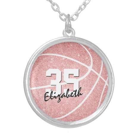 girly sporty pink personalized basketball silver plated necklace