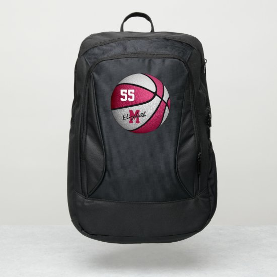 girly sporty pink white basketball personalized port authority® backpack