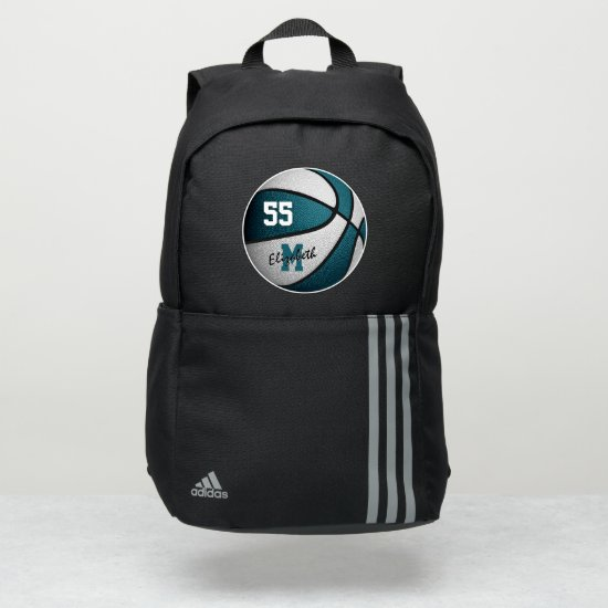 girly sporty teal white basketball personalized adidas backpack