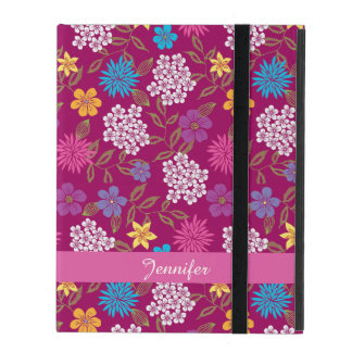Girly Spring and Summer Wild Flowers, magenta name iPad Cases