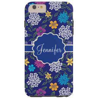 Girly Spring and Summer Wild Flowers, on blue name Tough iPhone 6 Plus Case
