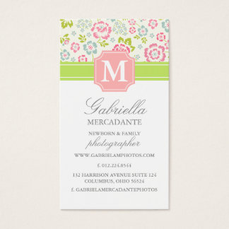 Girly Spring Floral Chevron Personalized Monogram Business Card