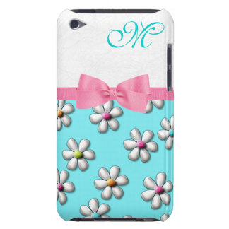 Girly Spring Flower Monogram Barely There iPod Case