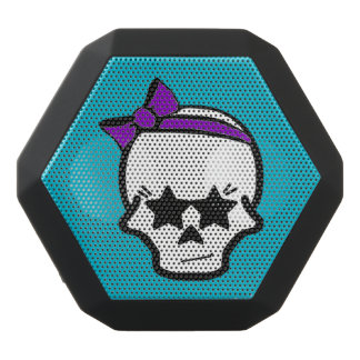 Girly Starry Eyed Skull with a Purple Bow Black Bluetooth Speaker
