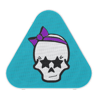 Girly Starry Eyed Skull with a Purple Bow Bluetooth Speaker