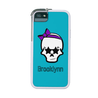 Girly Starry Eyed Skull with a Purple Bow Case For iPhone 5