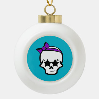 Girly Starry Eyed Skull with a Purple Bow Ceramic Ball Christmas Ornament