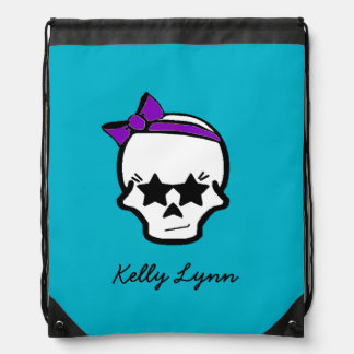 Girly Starry Eyed Skull with a Purple Bow Drawstring Backpack
