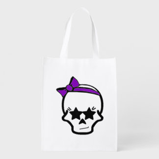Girly Starry Eyed Skull with a Purple Bow Grocery Bag