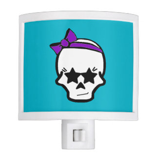 Girly Starry Eyed Skull with a Purple Bow Night Light