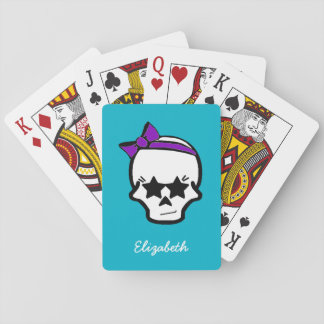 Girly Starry Eyed Skull with a Purple Bow Poker Deck