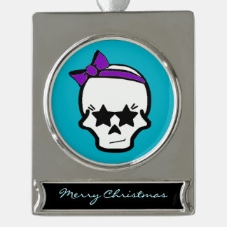 Girly Starry Eyed Skull with a Purple Bow Silver Plated Banner Ornament