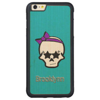 Girly Starry Eyed Skull with a Purple Bow Carved® Maple iPhone 6 Plus Bumper Case